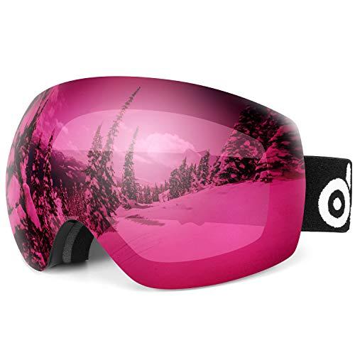 Odoland Grande Sferico Senza Cornice Occhiali da Sci per Uomini e Donne, S2 OTG Maschera da Sci a Due Strato, Protezione UV400 e Anti-Nebbia, Snowboard Maschera