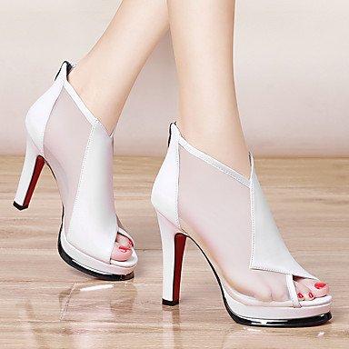 LvYuan Da donna-Sandali-Matrimonio Formale Serata e festa-Comoda-A stiletto-Finta pelle-Nero Bianco White