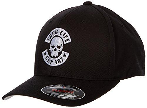 Thug Life Herren Skull Flexfit Kappe, Black, L/XL