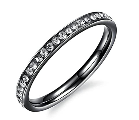 AMDXD Jewelry Stainless Steel Women's Engagement Rings Black Single Row CZ Size N 1/2