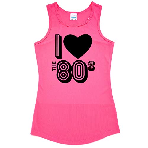 * NEW * Ladies Electric Pink 80s Running Vest, Sizes 8 to 16