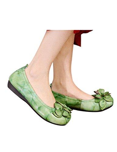 Youlee Femmes Fait Main Fleurs Doux Bas Appartement Chaussures Vert
