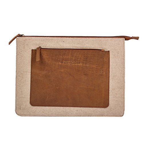 13 - 13.3 inch Laptop Sleeve bag | case | cover with Front Pocket | Compartment compatible with Apple Macbook Air | pro Lenovo Dell HP Acer Handmade in Leather zipper for Men Women - Beige & Tan Womens Tan Leder