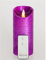 """Real Wax sans flamme Bougies LED avec minuterie T¨¦l¨¦commande rustique Flicker Purple3.2 """"x7"""""""