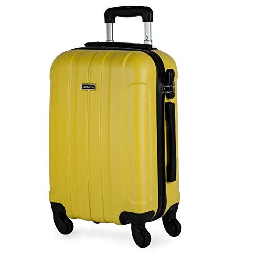 ITACA - Valigia rigida Travel Cabin 4 ruote trolley 55 cm ABS. Bagaglio a mano. Resistente e leggero Maniglia 2 maniglie lucchetto. Dimensioni Voli Low Cost Ryanair, 771150, Color Giallo