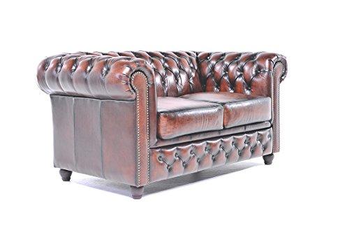 Original Chesterfield Sofa – 2 Sitzer – Vollständig Handgewaschenes Leder – Antik Braun