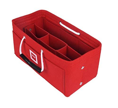 FFITIN Taschenorganizer Filz - Handtaschenorganizer mit Tragegriffen | Bag in Bag | XL Handtaschenordner (Sexy Red, L - Large (28 x 15 x 15 cm))