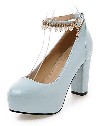 VogueZone009 Damen Rein Weiches Material Hoher Absatz Reißverschluss Rund Zehe Pumps Schuhe, Weiß, 36