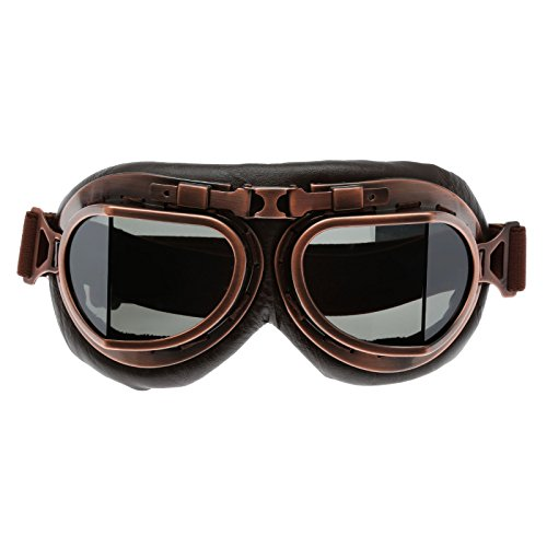 3cec87cd10d575 Helmet Steampunk Vintage Goggles Sunglasses Eyewear for Outdoor Sports  Motocross Racer - Brown Len