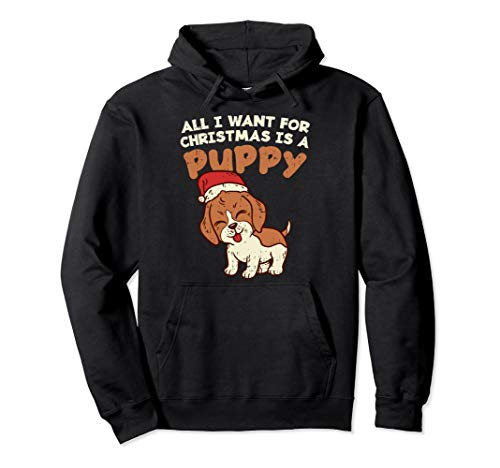 All I Want for Christmas Puppy Pet Dog Lover Gift Pullover Hoodie -