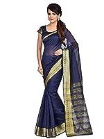 Shonaya NavyBlue Banarasi Art Silk Woven Work Saree With Unstitched Blouse Piece