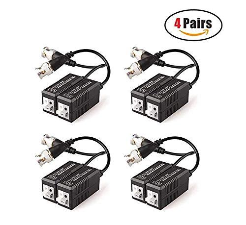 4 Paare Passiver Video Balun Sender und Transceiver mit Kabel für 1080P TVI/CVI/TVI/AHD/960H DVR-Kamera-CCTV-System, BNC-zu-UTP-Kabel CAT5/5e/6 /6e, Keine Stromversorgung erforderlich Balun Sender