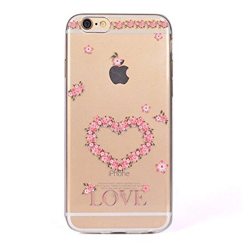 iPhone 6 Crystal Case Durchsichtig TPU bunte Sterne Hülle – Case Optik Schutzhülle Abstrakt Transparent Muster Design – MOVOJA – Sterne-bunt Blumenherz