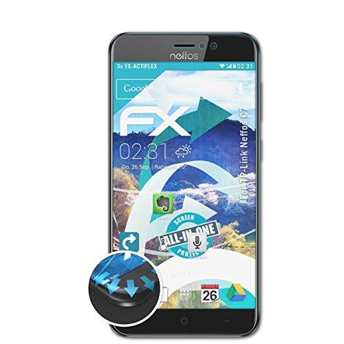 atFolix Schutzfolie passend für TP-Link Neffos C7 Folie, ultraklare & Flexible FX Bildschirmschutzfolie (3X)