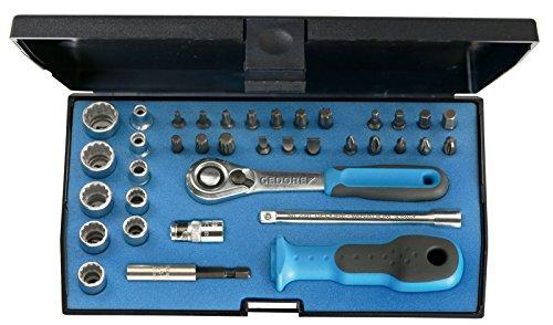 """GEDORE D 20 KMU-20 Steckschlüsselsatz 1/4\"""" - 37-tlg. Steckschlüssel- und Bitsatz mit Umschaltknarre, 1/4\""""-Bits & Steckschlüsseleinsätze inkl. weiterem Zubehör"""