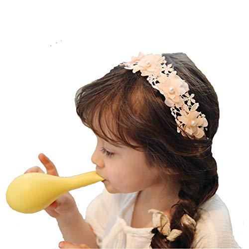 Laimew flor de encaje de boda diadema con cinta larga, vestido de princesa, accesorios para el cabello para niñas (Rosado)