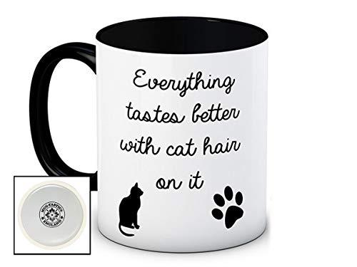 Everything Tastes Better With Cat Hair On It - Chat humoristique de haute qualité café thé tasse