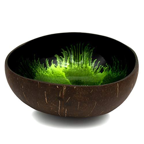 Cocovibes Kokosnuss Schale | Buddha Bowl | Deko Schüssel | 1er und 2er-Sets | Lackiert, Handgemacht und Umweltfreundlich (Grün)
