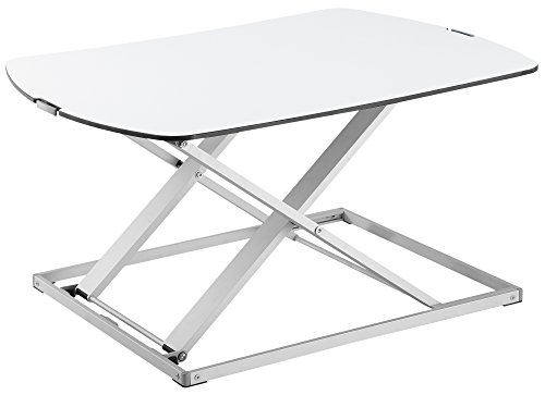 RICOO Universal Sitz Steh Monitor Halterung TS1111 Schreibtischaufsatz Höhenverstellbar Ergonomie Gasfeder Ultra Flach Bildschirm Monitorstand Weiss Silber - 2