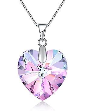 Swarovski Schmuck Halskette Kristall Halskette Herz pink Halskette für Frauen Weihnachten Geschenk Geburtsstein...