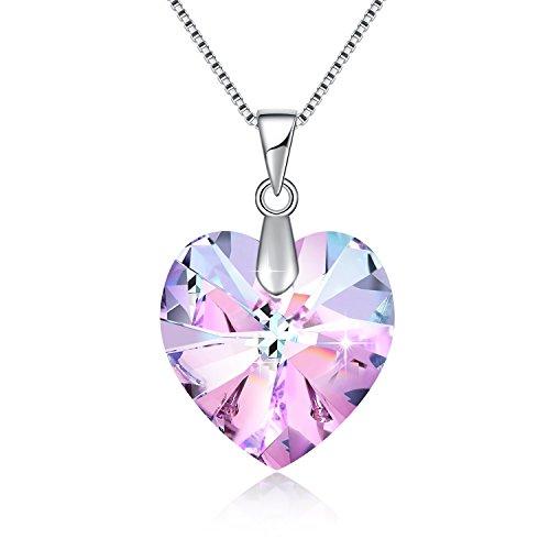 Cuore di cristallo swarovski rosa collana per le donne collana di gioielli collana regalo di natale portafortuna collana rodio placcato