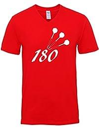 Hippowarehouse 180 Darts Unisex V-Neck Short Sleeve t-Shirt (Specific Size Guide In Description)