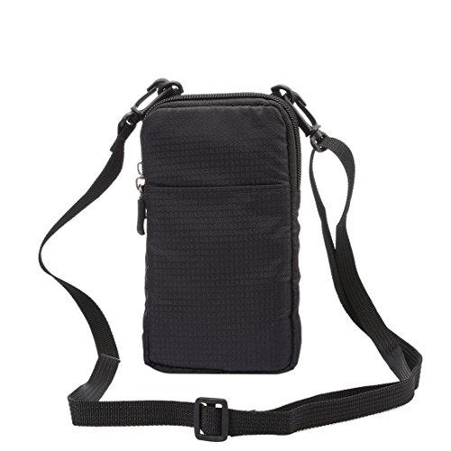 Universal Multifunktions-Plaid Texture Double Layer Reißverschluss Sport Taille Tasche / Schultertasche für iPhone 7 & 7 Plus / Samsung Galaxy Note 7 / Sony Xperia Z5 / Huawei Mate 8, Größe: 16,5 x 9, Black