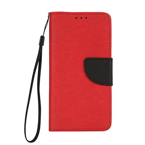 Samsung Galaxy J5 Prime Hülle, Chreey [Einfach Elegant] PU Lederhülle Magnetische Flip Case Brieftasche Handytasche Matt Schutzhülle mit Standfunktion Kartenfächer [Scharlach]