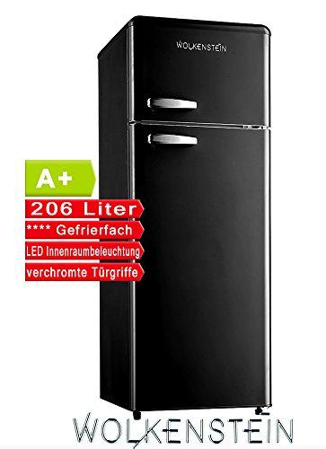 Retro Kühl-Gefrier-Kombination Schwarz Matt GK212.4RT A+ 206 Liter Nostalgie Design Kühlschrank