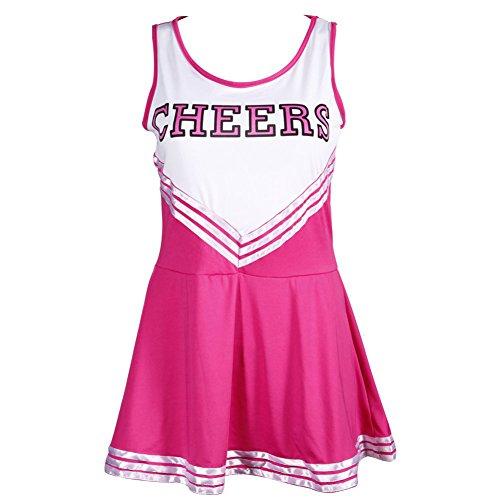 TOOGOO(R) Pom-Pom Maedchen Traegerhemd Kleid Cheer Leader Rose rot Anzug Kostuem M (34-36) (Kostüme Kinder Maskottchen)