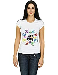 Demokrazy Girls Holi T-Shirt(Lets Play) White