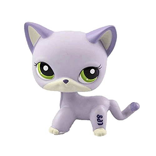dreamsLE_Pet toy store Shop Pet Spielzeug Kurzhaar Kätzchen Katze LPS Seltene Katze Maske Standing Kurze Haare für Kinder Geschenk (Lavendel Mein)