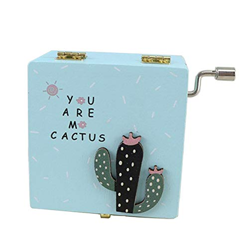 YI KUI Caja de música, manivela Caja de música, Caja Cuadrada de Mano de Cactus clásica clásica, Caja de Manualidades de Madera Creativa para niños/Amigos,Pink