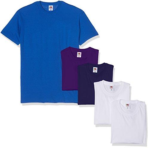 Fruit of the Loom Herren Valueweight 5 Pack T-Shirt, Mehrfarbig White/Navy/Purple/Royal 30/30/32/Pe/51, Medium (erPack 5 - Pe-uniformen