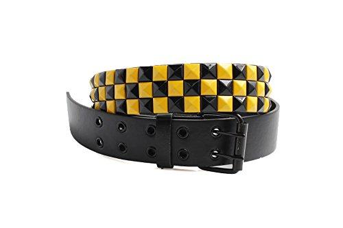 Accessoryo - Herren / Damen 115cm 3 Reihe gelb & schwarz kariert besetzt schwarzen Gürtel (Schwarzen Pyramiden-nieten-gürtel)