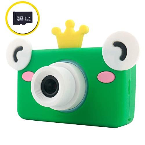Xwly-Dr Kinder-Digital-Videokameras 2,0 Zoll 8 Megapixel Micro USB wiederaufladbare Kinder Anti-Drop-Kamera mit 16G TF-Karte Jungen Mädchen,Green