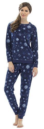Femmes Poli Pyjama Polaire Ensemble Avec Lurex Couture Bleu