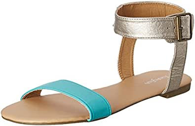 Funky Fish Women's White, Turquoise and Pink Fashion Sandals - 6.5 UK/India (40.5 EU)