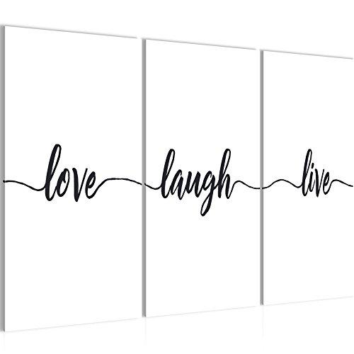 Bild 120 x 80 cm - Spruch Live Love Laugh Bilder- Vlies Leinwand - Deko für Wohnzimmer -Wandbild - XXL 3 Teilig Teile - leichtes Aufhängen- 802631a
