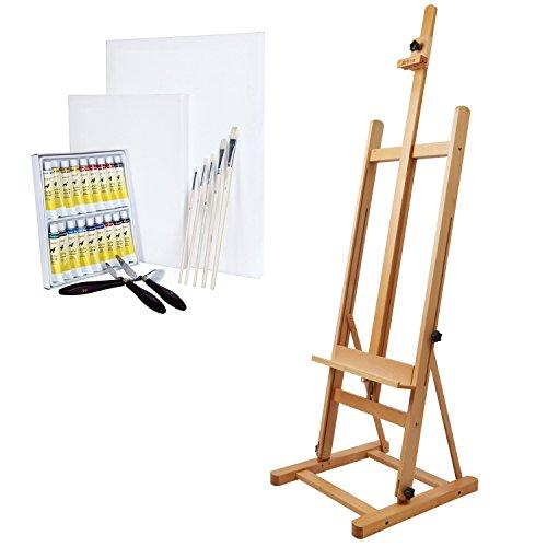 Artina Atelierstaffelei Siena Staffelei Buchen-Holz massiv mit 18 Acrylfarben, 2 Leinwände, 5...