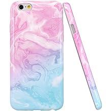 iPhone 6 Funda, JIAXIUFEN Funda de Silicona Suave Case Cover Protección cáscara Soft Gel TPU Carcasa Funda para Apple iPhone 6 6S - Rosa Azul Mármol Diseño