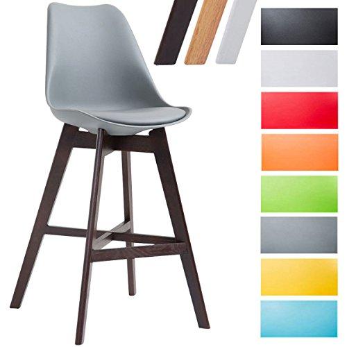 CLP Tabouret de bar CANNES en revêtement similicuir rembourré et coque plastique, chaise haute à dossier et pietement quatre pieds bois avec repose-pieds pour tout usage en intérieur gris, Piètement: cappuccino