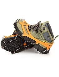 JUNQL& at8605 8 acero inoxidable zapatos de nieve invierno al aire libre crampones diente zapatos establecidos y crampones de escalada