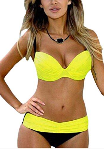 Minetom Tief Tailliert Badeanzug Bandeau Push Up Bikini Neckholder Bademode Triangle Sommer Beiläufig Sexy Badekleidung Zweiteilig Gelb DE 38