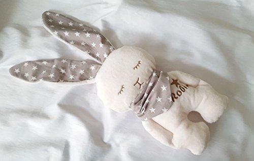 Stofftier Hase - mit NAMEN BESTICKT - Kuscheltier Baby Kinder Geschenk personalisiert mit Wunschnamen - Taufe (Beige, Sterne)