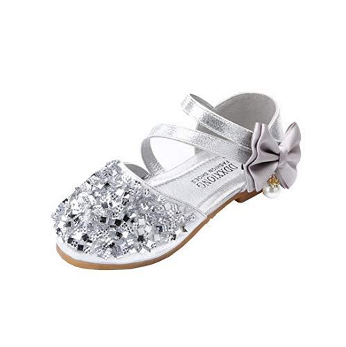 Restbuy scarpe da principessa scarpe party bowknot glitter scarpe da ballo sandali con tacco basso da sposa per ragazze