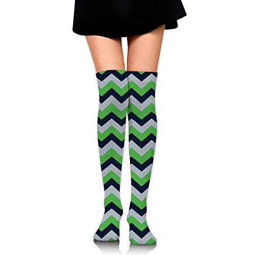 NFHRREEUR Seattle Seahawks Chevron Womens Knee High Socks Long Socks Sport Socks Thin for Running,Medical,Athletic,Travel