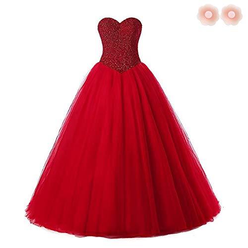 W&TT Frauen Schatz Tüll Brautkleider für Braut Plus Size (Prinzessin Braut Kleid Kostüm Red)