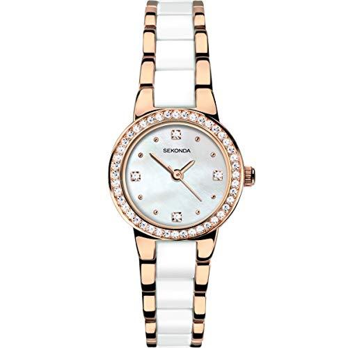 Sekonda placcato oro in acciaio INOX con inserti bianchi orologio da donna 2262