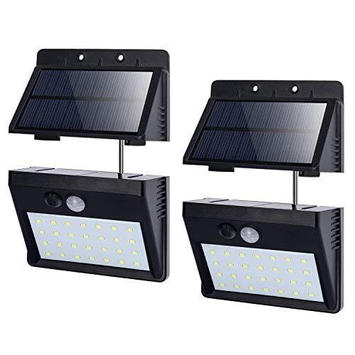 T-SUN Foco Solar Exterior, Luz de Pared al Aire Libre de 28 LED, Luces Solares con Sensor de Movimiento, Gran Ángulo 120°, Luces Solares de Seguridad con 3 modos inteligentes, 6000K.(Pack de 2)